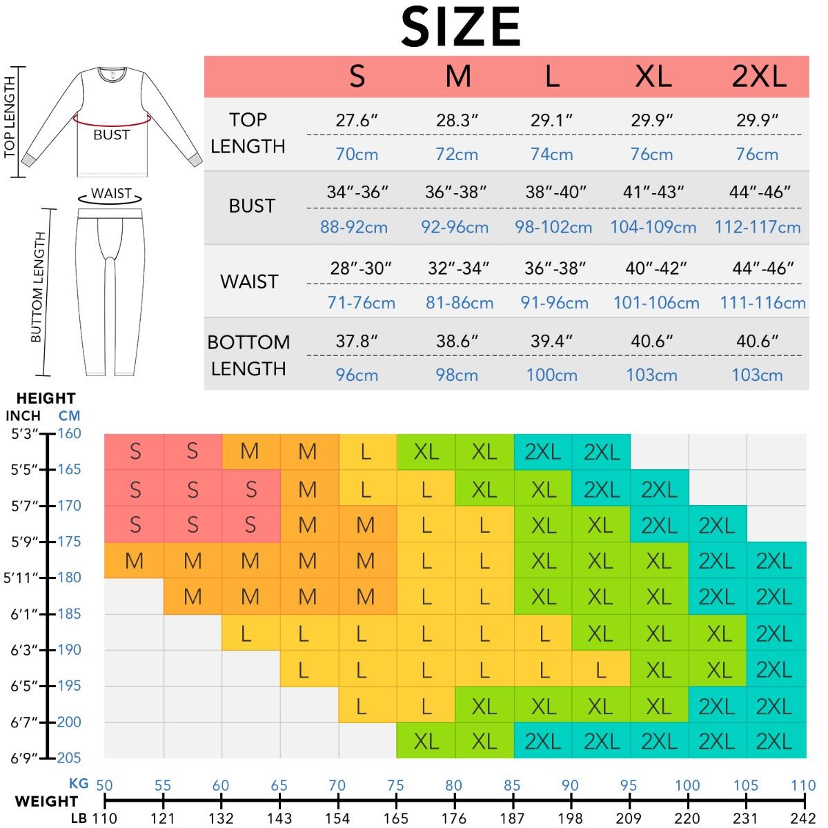 M63 size chart